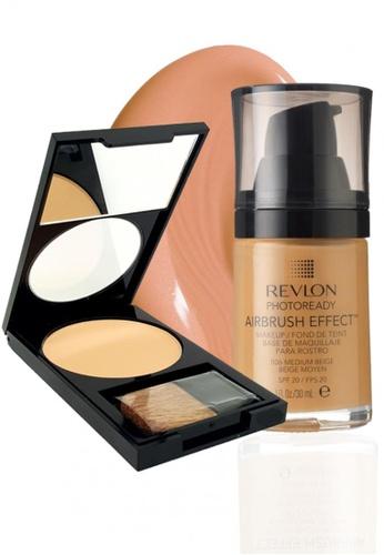 Revlon beige Revlon PhotoReady Airbrush Effect™ Makeup 006 Medium Beige 30ml + Revlon PhotoReady™ Powder 020 Light/ Medium 7.1g RE737BE15CXWSG_1