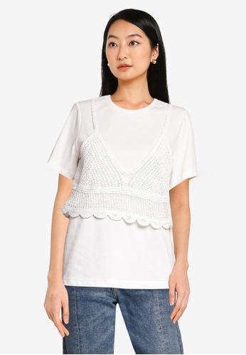 URBAN REVIVO white Casual T-Shirt 8B2EBAACEA4890GS_1