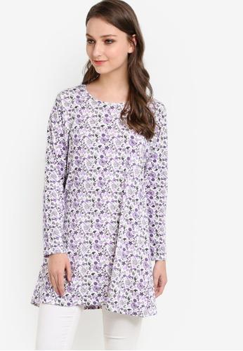 Aqeela Muslimah Wear purple and multi Printed Top AQ371AA32PIXMY_1