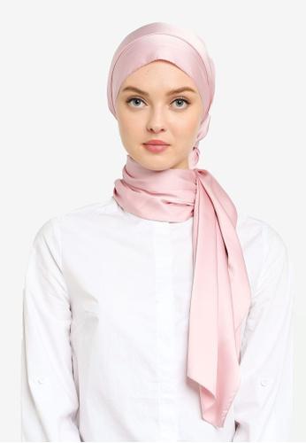 UMMA pink Nour Satin Slik Scarf in Pink 87223AAA6D11C8GS_1