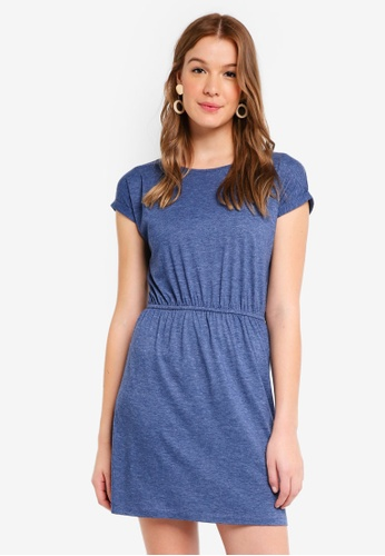 ZALORA BASICS blue Basic T-Shirt Dress with Gathered Waist A746FAAC961516GS_1