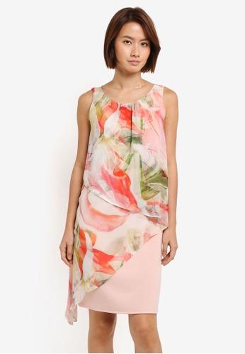 Wallis pink Blush Spring Floral Asymmetric Shift Dress 84F4FAA40B0159GS_1