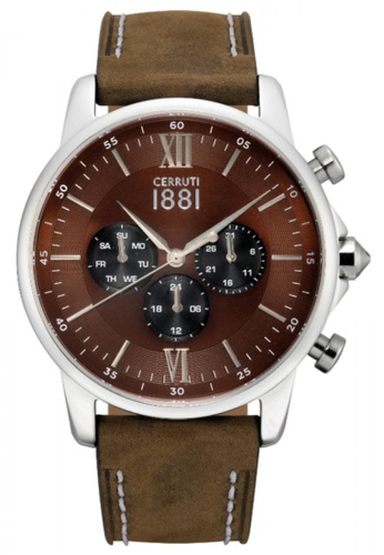 CERRUTI 1881 brown Terra Multifunction Brown Leather Strap Men Watch CE514AC38QONMY_1