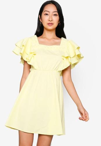 ZALORA BASICS yellow Layered Sleeve Square Neck Mini Dress BD191AA4B053ECGS_1