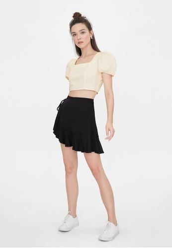 Pomelo black Side Tie Wrap Ruffle Skirt - Black 6DFA9AA791BA12GS_1