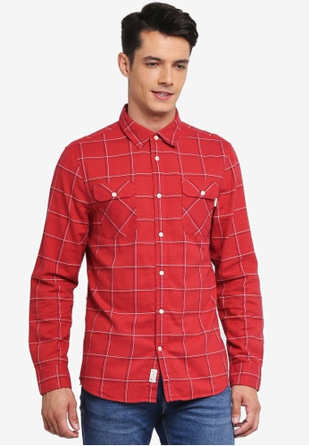 Jack Wills red Enmore Slub Check Flannel Shirt CD25CAA359EE27GS_1