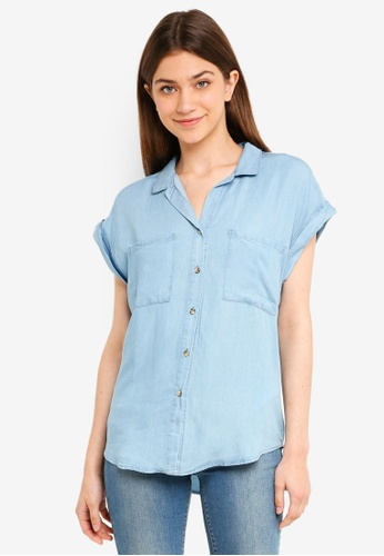 Cotton On blue Emily Short Sleeve Shirt AE6EDAAC5C7D33GS_1