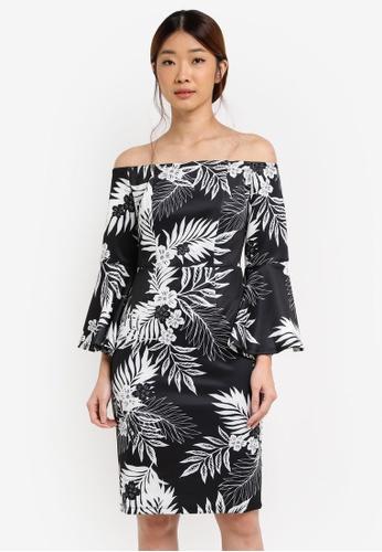 Dorothy Perkins black Printed Bardot Pencil Dress DO816AA0T050MY_1