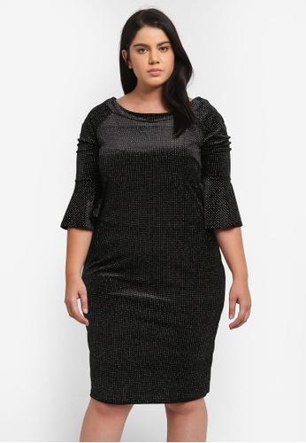 Goddiva black Plus Size Glitter Velvet Midi Dress With Bell Sleeves GO975AA0SSCBMY_1