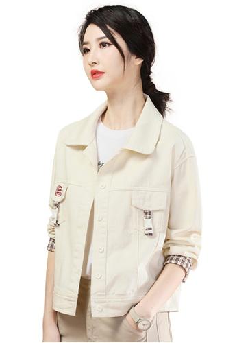 A-IN GIRLS beige Fashion Plaid Stitching Denim Jacket CB458AA331551BGS_1