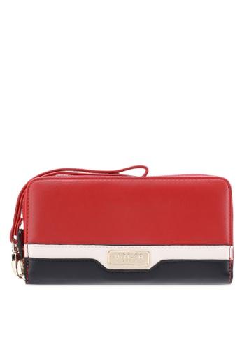 Unisa red Faux Leather Colour Block Ladies Zip-Up Wallet UN821AC35LFCMY_1