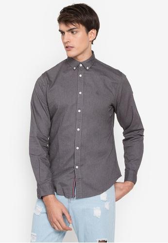 Springfield grey Oxford Long Sleeve Shirt 267C3AA6C23CA5GS_1