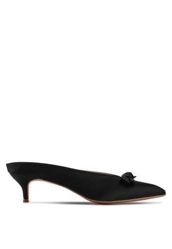 Velvet black Mini Bow Low Heels CB082SH6F36EC1GS_1