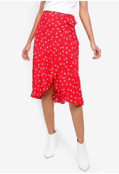 90ed09b89a875 WAREHOUSE red Int Spot Wrap Midi Skirt E6E61AA5E82ABDGS 1