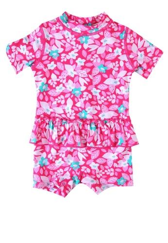 Du Pareil Au Même (DPAM) pink Short Sleeve Swimsuit 45683KACCEC33BGS_1