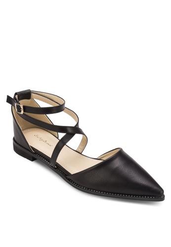 交叉繞踝尖adl esprit頭平底鞋, 女鞋, 鞋
