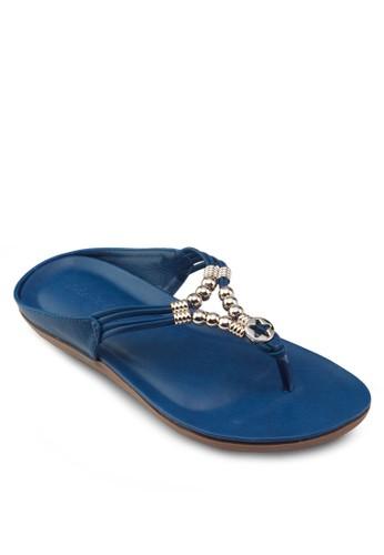 金飾夾腳涼鞋, 女鞋zalora時尚購物網的koumi koumi, 懶人鞋