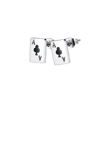Glamorousky silver Fashion Simple Black Ace Of Spades Playing Card 316L Stainless Steel Earrings A2C7DACCA270EEGS_1