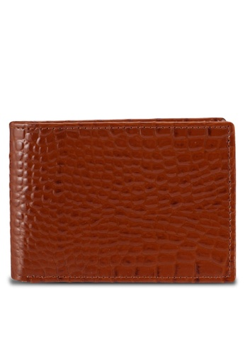 Miajee's brown Premium Genuine Leather Hancrafted Elegant Crocodile pattern Bifold Wallet D6079ACFC68E00GS_1