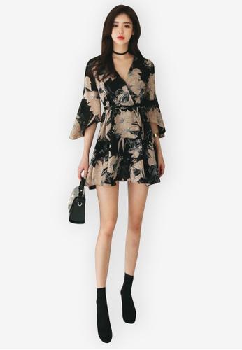 Sunnydaysweety multi Flare Sleeves Wrap One Piece Dress 1EB42AA082023EGS_1