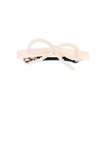 Glamorousky white Simple and Sweet Beige Ribbon Hair Slide with Imitation Pearls 48AFBAC73A8341GS_1