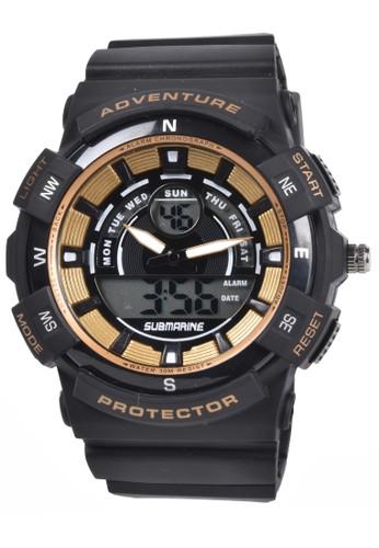 Digitec black Submarine - Jam Tangan Pria - Black Gold - Resin Strap - TP3189-