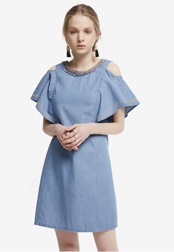 Hopeshow blue Cold Shoulder Denim Mini Dress 3A6D3AA50AD7F7GS_1