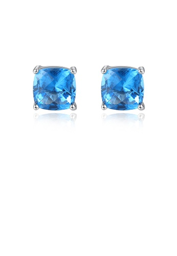 Glamorousky blue 925 Sterling Silver Fashion Simple Geometric Square Blue Cubic Zirconia Stud Earrings 0D45FAC4E06181GS_1