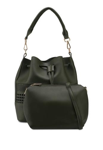Unisa green Perforated Facile Bucket Bag Set 440D5AC6B4F2E8GS_1
