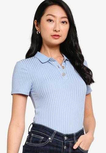 ZALORA BASICS blue Rib Polo Shirt 9963DAA80691B1GS_1