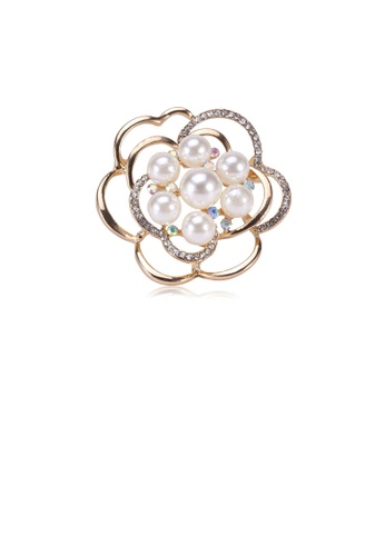 Glamorousky white Fashion and Elegant Plated Gold Flower Imitation Pearl Brooch with Cubic Zirconia DC6FEACF507A89GS_1