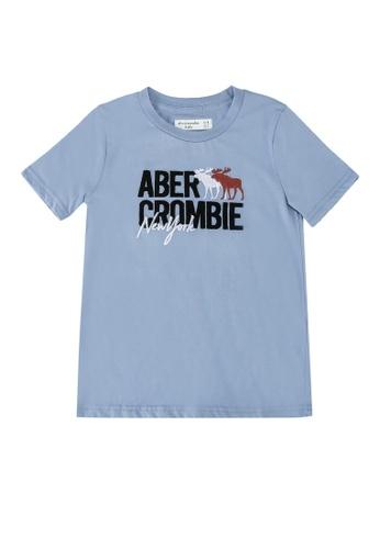 Abercrombie & Fitch blue Script Tech Logo Print T-Shirt BC0DBKA9FE623DGS_1