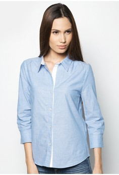 Quarter Sleeves Chambray Shirt