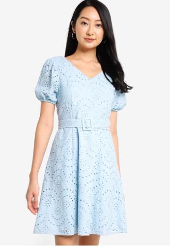 ZALORA BASICS blue Puff Sleeves Eyelet Dress 0616AAA8E8C573GS_1