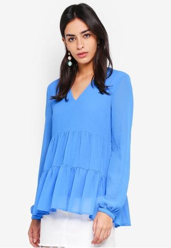 Vero Moda blue Hanni Long Sleeve Top 4578FAAE863766GS_1