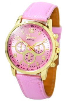 Geneva Sophie Baby Pink Leather Strap Watch