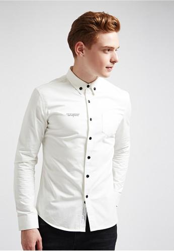 美式西岸。後肩青鳥繡花。長袖襯衫-0esprit 會員3618-白色, 服飾, 素色襯衫