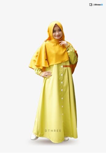 DTHREE yellow Dthree - Davasha Muslim Dress Lime 2563DAABBD20C7GS_1