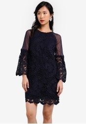 ZALORA blue and navy Crochet Lace Mesh Flare Sleeves Dress 31819AAABDD3A3GS_1