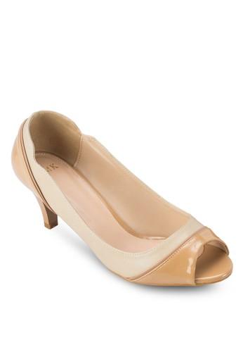 雙色露趾淑女鞋, 女esprit 兼職鞋, 魚口鞋