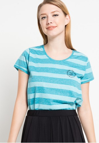 GREENLIGHT green Striped Text Basic Tee GR397AA70HLLID_1