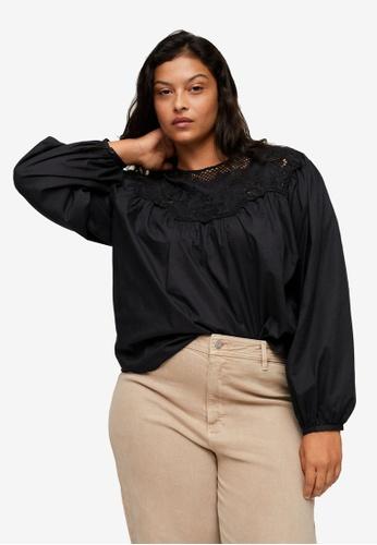 Violeta by MANGO black Plus Size Cotton Embroidered Blouse 2ECFBAAEA6385AGS_1