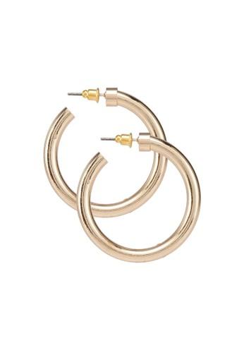 ONLY gold Nula Heavy Hoop Earrings 8EF38ACB468964GS_1
