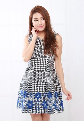 Leline Style black Danna Monochome Floral Dress LE802AA99SQASG_1