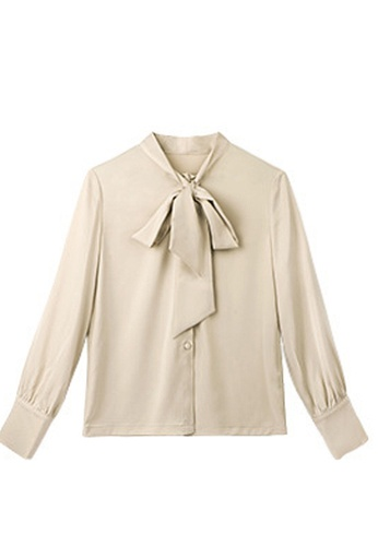 Twenty Eight Shoes beige VANSA  Tie Bow Long Sleeves Blouse VCW-Bs87016 89469AA9809FE5GS_1