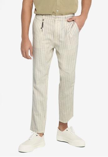 Only & Sons white Lou Lifetap Stripe Pants ADBDAAAA846646GS_1