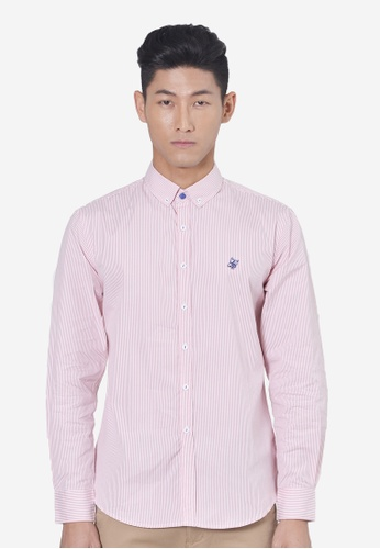 Private Stitch pink Striped Twill Shirt With Owl Embroidery PR777AA19KWIMY_1