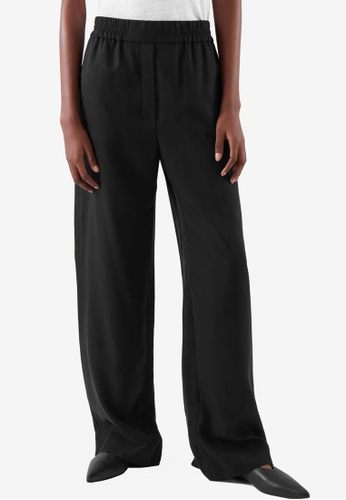COS black Elasticated Relaxed-Leg Trousers 49AB9AA2C74715GS_1