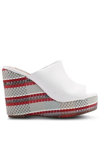 nose white Pu Upper With Raffia Wedge Heel Slides 7F457SH1739BECGS_1