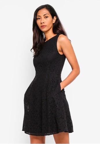 ZALORA BASICS black Basic Fit And Flare Lace Dress 62B1CAAD680CA1GS_1